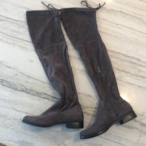 Charcoal grey over the knee boots